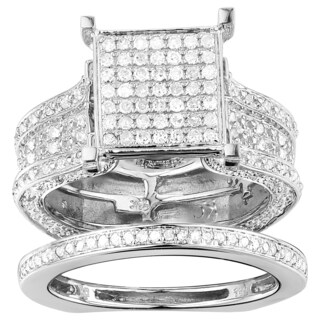 10k White Gold 1 3/8ct TDW Pave Diamond Cluster Ring (More options available)