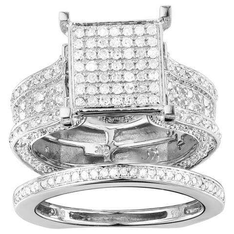 10k White Gold 1 3/8ct TDW Pave Diamond Cluster Ring