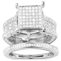 10k White Gold 1 3/8ct TDW Pave Diamond Cluster Ring