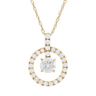Gioelli 10KT Gold 1.37 tcw Circle of Life CZ Necklace