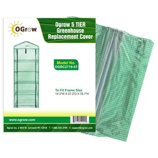 """Ogrow 5 Tier Greenhouse Pe Replacement Cover - To Fit Frame Size 19.3""""W X 27.2""""D X 78.7""""H"""