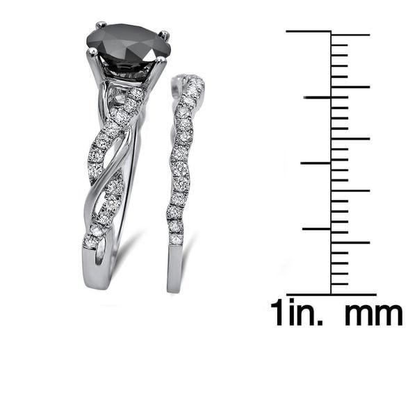 14k White Gold 1 1/2ct Black Diamond Bridal Ring Set