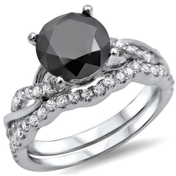 14k White Gold 1 1/2ct Black Diamond Bridal Ring Set. Opens flyout.