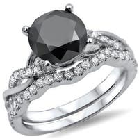 Noori 14k White Gold 1 1/2ct Black Diamond Bridal Ring Set