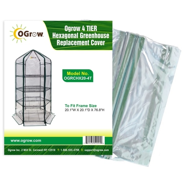 "Ogrow 4 Tier Hexagonal Greenhouse Replacement Cover - To Fit Frame Size 20.1""W X 20.1""D X 76.8""H"