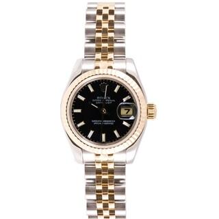 Pre-Owned Rolex Women's Two-tone Datejust Jubilee Black Dial Watch