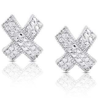 Finesque Sterling Silver 1/10ct TDW Diamond 'X' Stud Earrings (I-J, I2-I3)