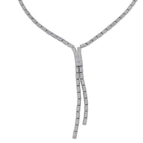 Finesque Silverplated 1/3ct TDW Diamond 'Y' Riviera Necklace - Silver
