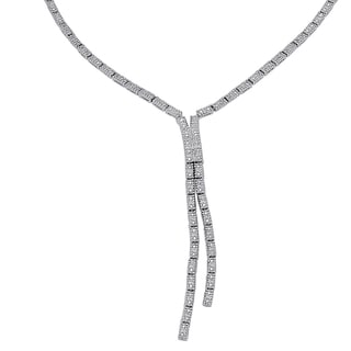 Finesque Silverplated 1/3ct TDW Diamond 'Y' Riviera Necklace