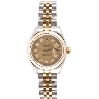 Pre-owned Rolex Women's Datejust Steel and Gold Jubilee Band Champagne Diamond Dial Watch