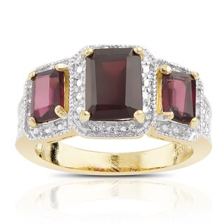 Link to Dolce Giavonna Gold over Sterling Silver Garnet and Diamond Accent 3-stone Ring Similar Items in Rings