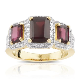 Dolce Giavonna Gold over Sterling Silver Garnet and Diamond Accent 3-stone Ring