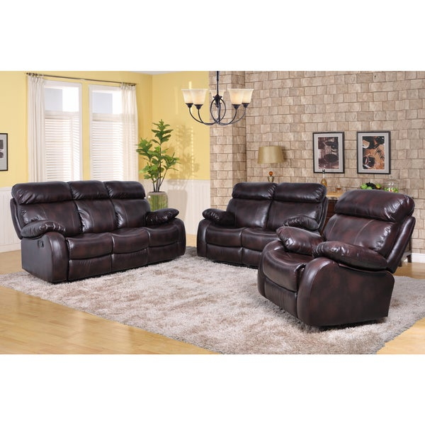 Shop Barcelona Black Leather Reclining 3 Piece Sofa Set