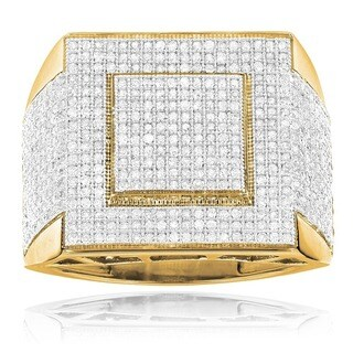 Luxurman 10k Gold 1 1/3ct TDW Square Pave Diamond Ring