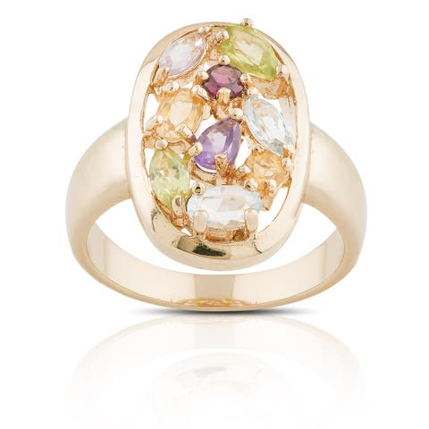 Dolce Giavonna Gold over Sterling Silver Multi-gemstone Cluster Oval Ring