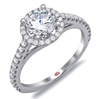 Demarco 18k White Gold 1 2/5ct TDW Diamond Designer Halo Engagement Ring