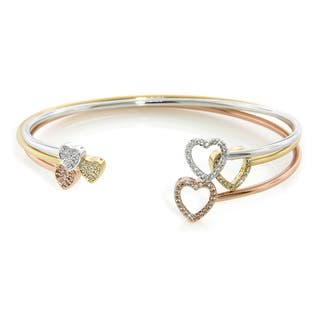 Eternally Haute Gold Overlay Cubic Zirconia Two-heart Bangles|https://ak1.ostkcdn.com/images/products/9314115/P16474798.jpg?impolicy=medium