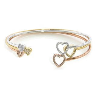 Eternally Haute Gold Overlay Cubic Zirconia Two-heart Bangles