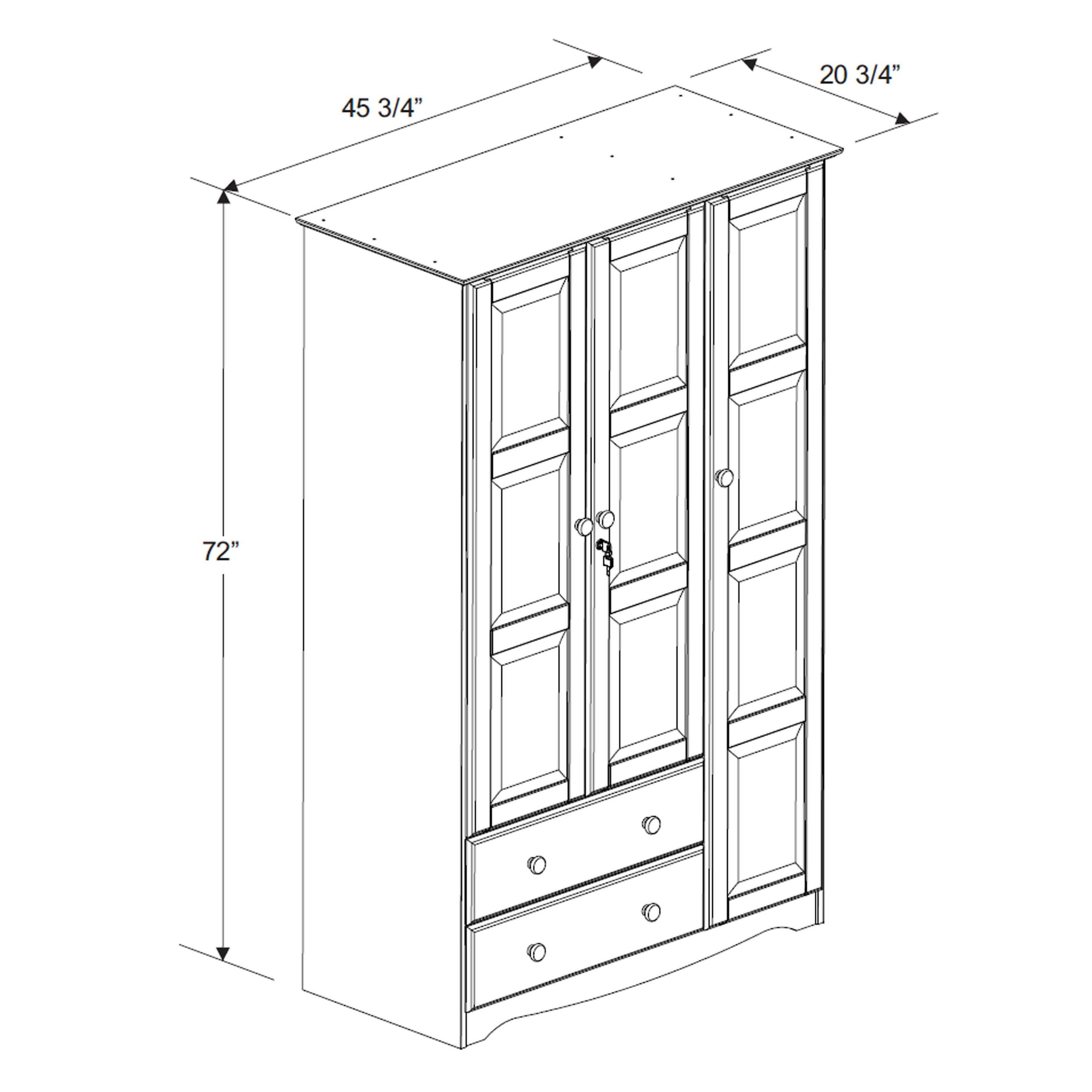 Lockable Bedroom Furniture Solid Wood Wardrobe Three Doors Lockable Storage Organize Bedroom