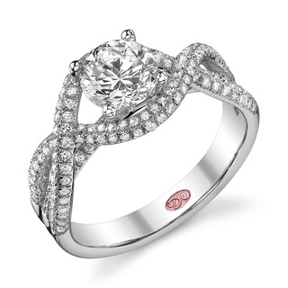 Demarco 18k White Gold 1 5/8ct TDW Designer Pave Diamond Engagement Ring