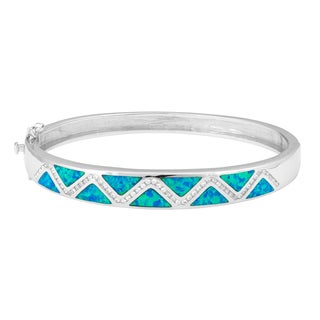 La Preciosa Sterling Silver Blue Opal Cubic Zirconia Zigzag Bangle