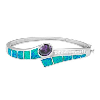 La Preciosa Sterling Silver Blue Opal and Amethyst Cubic Zirconia Bangle