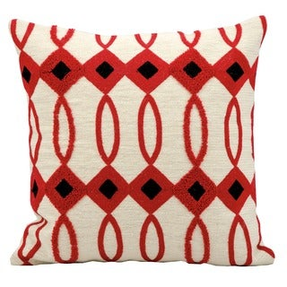 kathy ireland Black Diamonds Ivory/Red Throw Pillow (18-inch x 18-inch) by Nourison