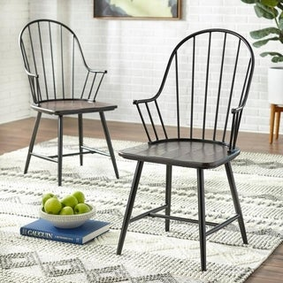 Simple Living Milo Black and Espresso Mixed Media Arm Chairs (Set of 2) - N/A