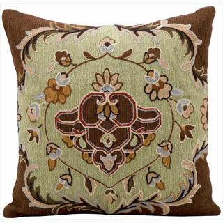 kathy ireland Floral Damask Pistachio Throw Pillow (18-inch x 18-inch) by Nourison