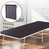 Classic Easy-to-Store Folding Bed with Mattress and Washable Slip Cover
