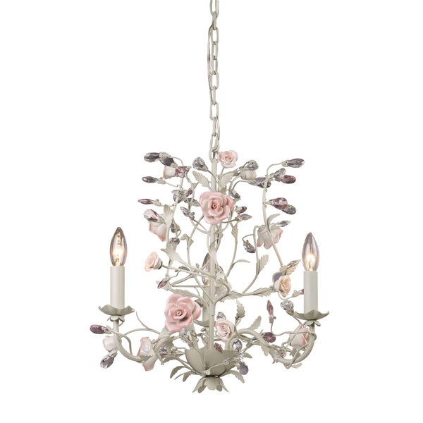 Elk Lighting Heritage 3 Light Cream Rose Chandelier