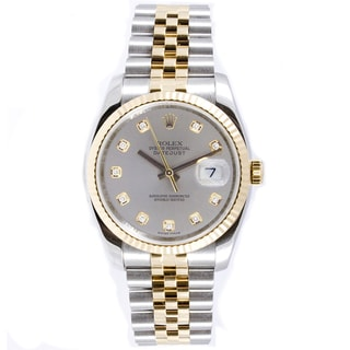 Pre-owned Rolex Men's Two-tone Datejust Diamond Silvertone Dial Watch