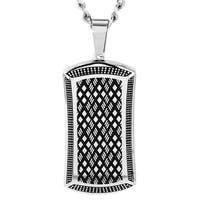 Crucible High Polish Stainless Steel Antiqued Dog Tag Pendant