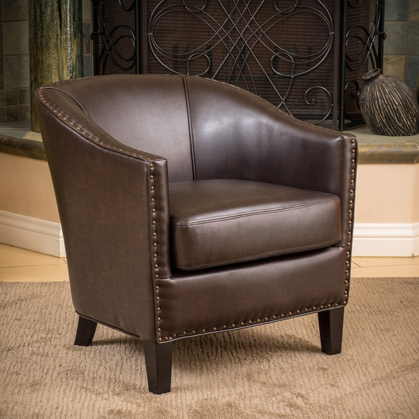 Delicieux Austin Brown Bonded Leather Club Chair By Christopher Knight Home