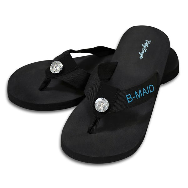 c49571dd8c78 Shop Bridesmaid Black Flip Flops with Rhinestone Accent - Free Shipping On  Orders Over  45 - Overstock.com - 9315419