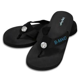 Bridesmaid Black Flip Flops with Rhinestone Accent|https://ak1.ostkcdn.com/images/products/9315419/P16475982.jpg?impolicy=medium