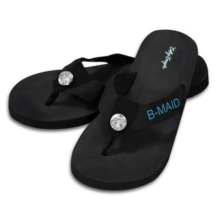 Bridesmaid Black Flip Flops with Rhinestone Accent (4 options available)