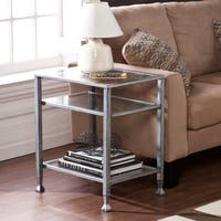 Porch & Den RiNo Brighton Silver Metal and Glass End Table