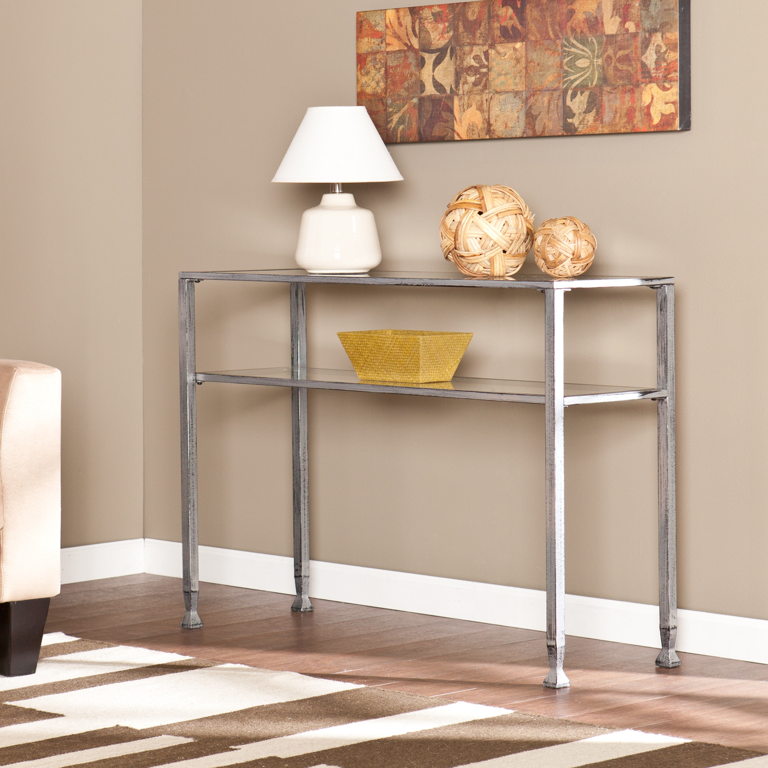 Clay Alder Home Liberty Silver Metal and Glass Console Table