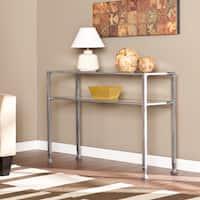 Porch & Den RiNo Brighton Silver Metal and Glass Console Table