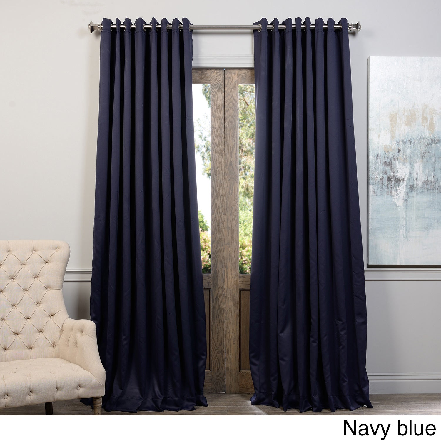 Exclusive Fabrics Extra Wide Thermal Blackout Grommet Top 84 Inch Curtain Panel Ebay