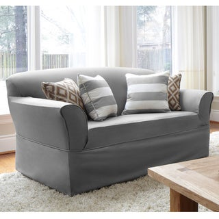QuickCover Twill One-piece Relaxed Fit Wrap Sofa Slipcover