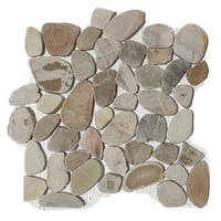 Sandy Beach Flat Pebble Mesh Tile (Pack of 5)