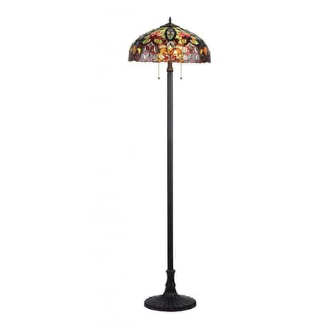 Tiffany Style Victorian Design 2-light Dark Antique Bronze Floor Lamp