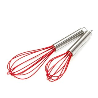 Silicone Coated Stainless Steel 2 Piece Red Whisk Set