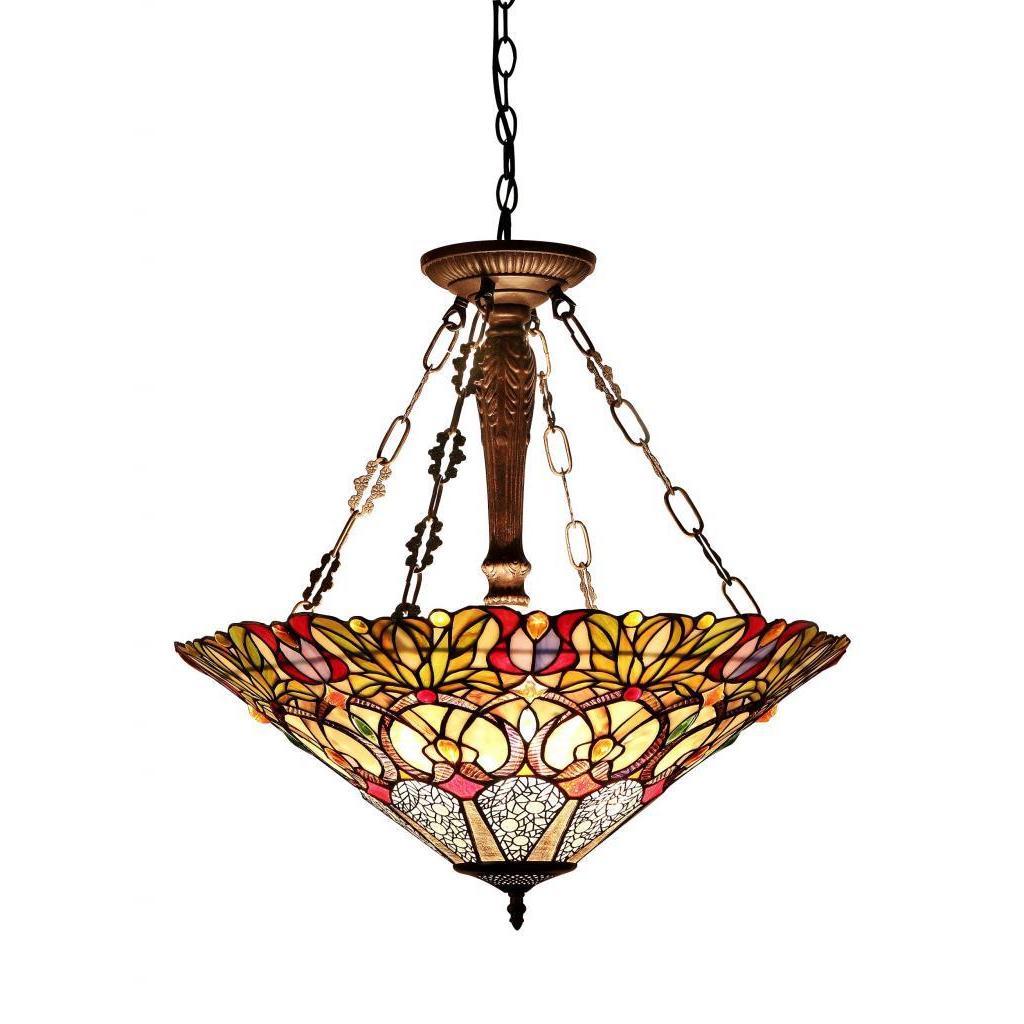 Chloe Tiffany-style Victorian Design 3-light Pendant in D...