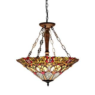 Tiffany-style Victorian Design 3-light Pendant in Dark Antique Bronze