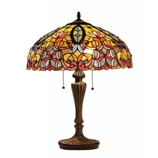 Tiffany-style Victorian Design 2-light Table Lamp in Dark Antique Bronze