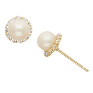 Junior Jewels 14KT Gold CZ & Pearl Stylish Designer Earrings