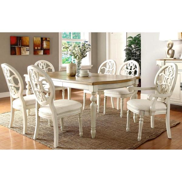 Marseille Elegant Country Style Antique White Oak Dining Set Free Shipping